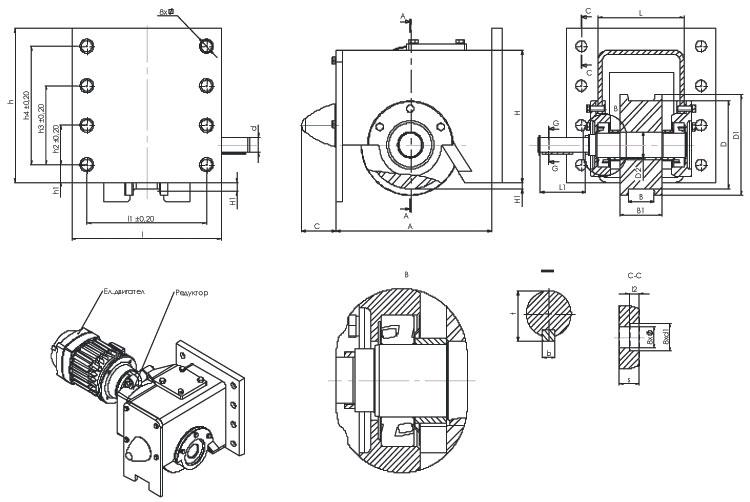 Блок-ходовые колеса для опорных концевых балок - габаритные и присоединительные размеры