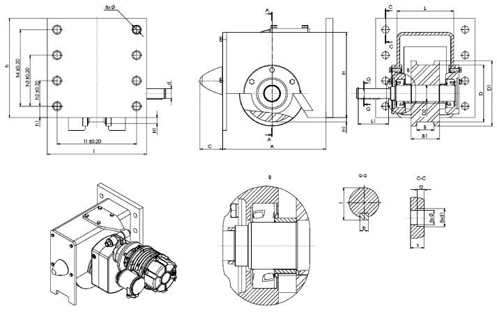 Блок-ходовые колеса для опорных концевых балок взи - габаритные и присоединительные размеры