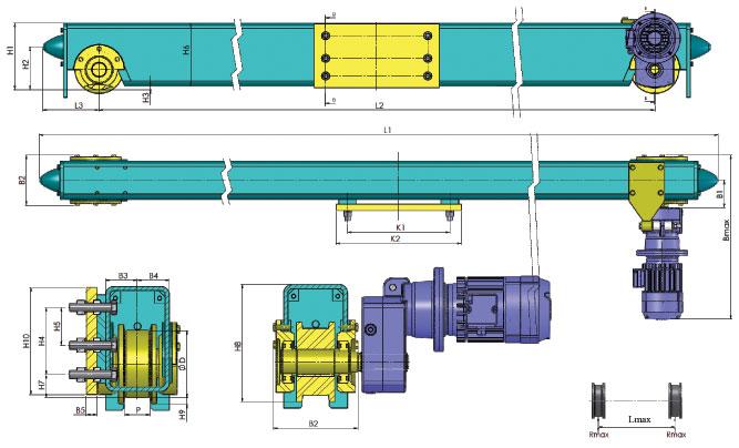 Концевая балка крановая типа EC1 для встраивания в однобалочном кране