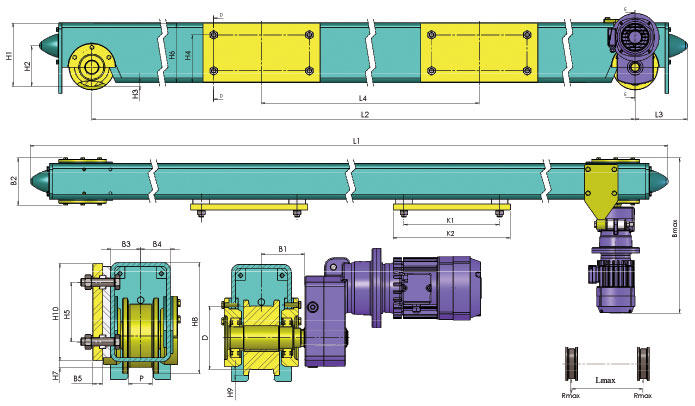 Концевая балка крановая для двухбалочного крана - габаритные и присоединительные размеры