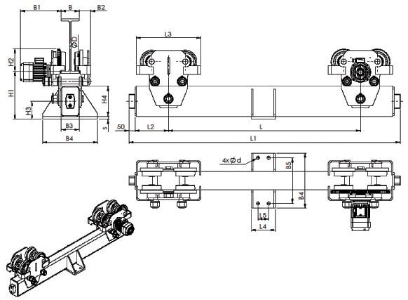 Концевые балки для кранов подвесных мостовых - габаритные и присоединительные размеры