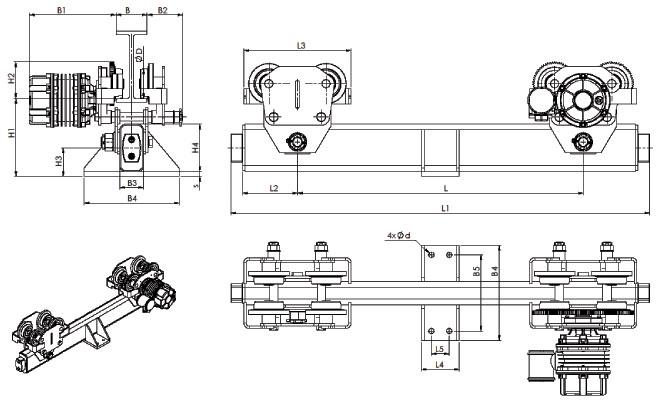 Концевые балки для кранов подвесных мостовых взи - габаритные и присоединительные размеры