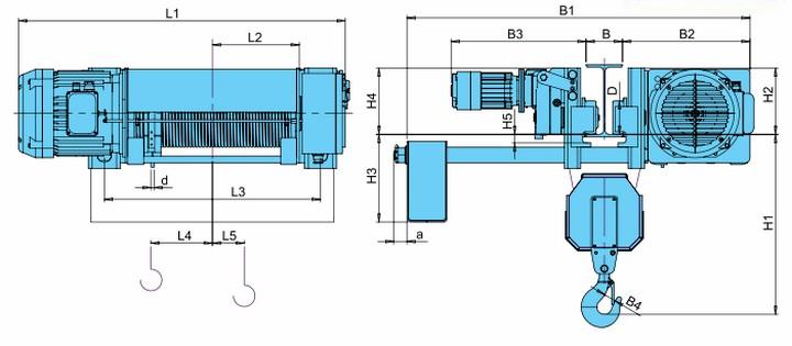 Тали электрические CVAT - габаритные размеры (полиспаст 2/1)