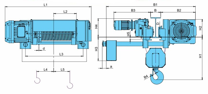 Тали электрические CVAT - габаритные размеры (полиспаст 4/1)