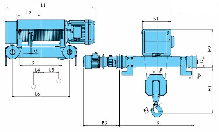 Электротали KVAT - габаритные размеры (полиспаст 2/1)