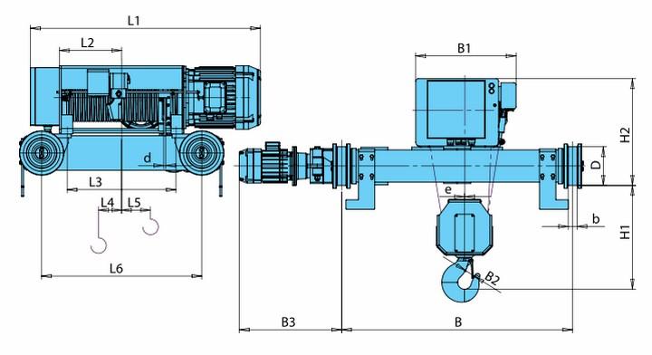 Электротельферы KVAT - габаритные размеры (полиспаст 4/1)