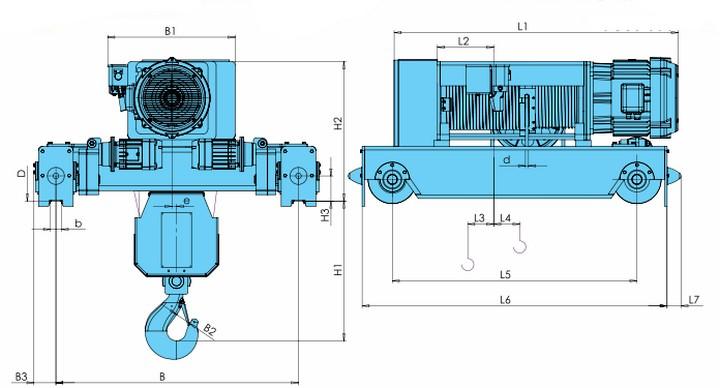 Тельферы электрические KVAT - габаритные размеры KVATF (фланцевое исполнение, полиспаст 4/1)