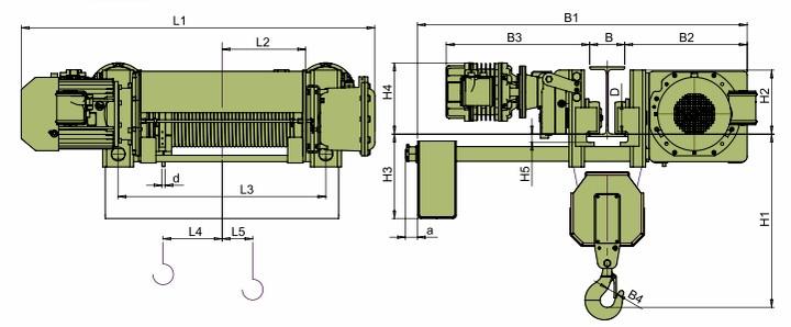 Тали электрические VCVAT - габаритные размеры (полиспаст 2/1)