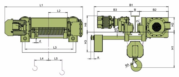Тали электрические VCVAT - габаритные размеры (полиспаст 4/1)