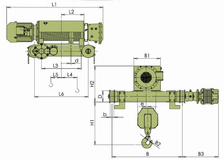 Тали электрические VKVAT - габаритные размеры (полиспаст 2/1)