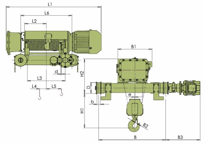 Тали электрические VKVAT - габаритные размеры (полиспаст 4/1)