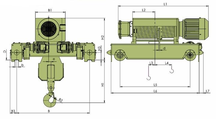Электротали VKVAT - габаритные размеры фланцевое исполнение (полиспаст 2/1)