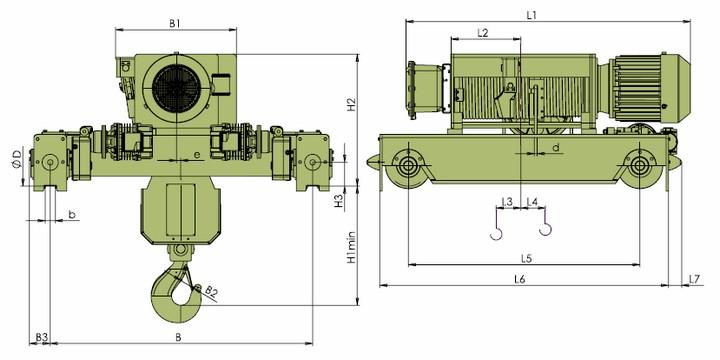 Тельферы VKVAT - габаритные размеры фланцевое исполнение (полиспаст 4/1)