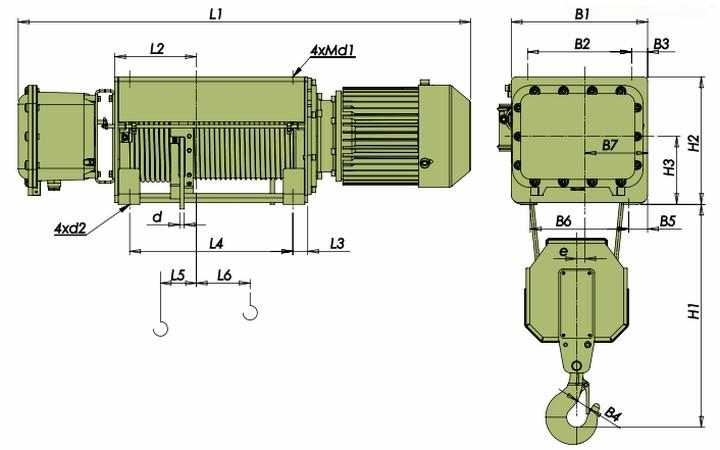 Тали электрические VVAT - габаритные размеры (полиспаст 2/1)