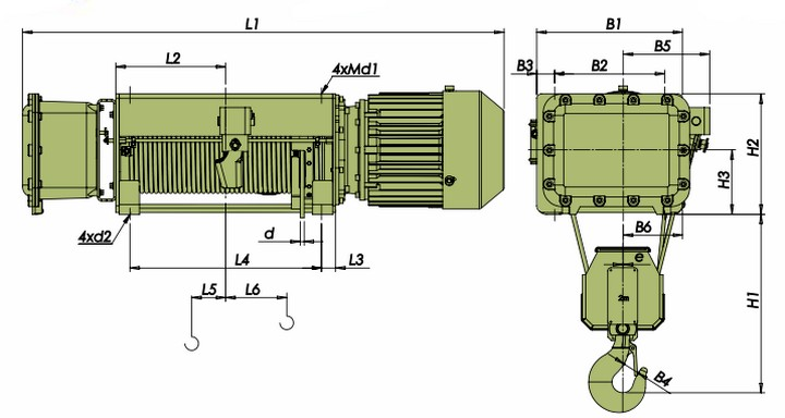 Тали электрические VVAT - габаритные размеры (полиспаст 4/1)